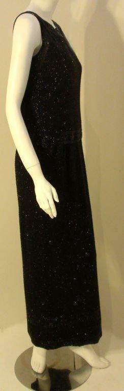 CEIL CHAPMAN 1960s Vintage 2 pc Black Beaded Gown - image 3