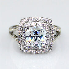 Double Halo Cushion Cut 3ct NSCD Diamond Simulant Certified Engagement Ring
