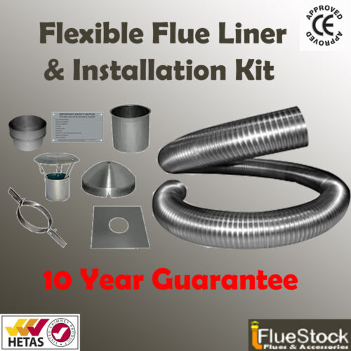 8m of 5 inch Flexible flue liner /& installation kit FOR WITHOUT CHIMNEY POT
