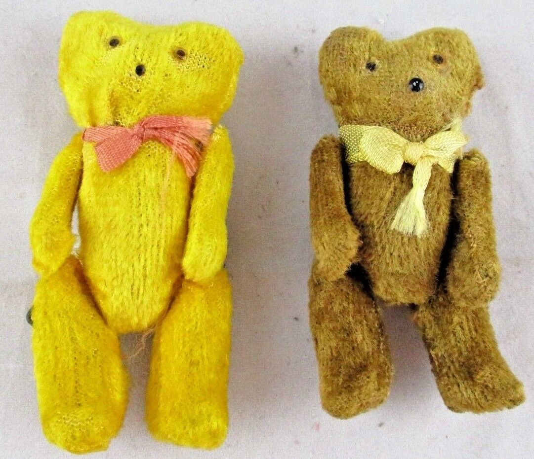 2 MINIATURE 3  Teddy Bears MOHAIR Jointed Butterscotch & Marronee BEAR