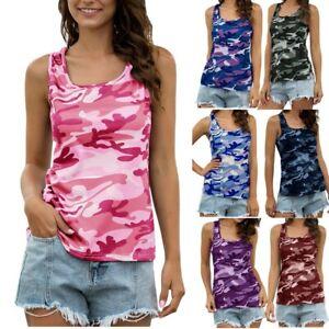 UK Womens Vest T-Shirt Ladies Summer Camouflage Tank Tops Blouse Plus Size 6-18