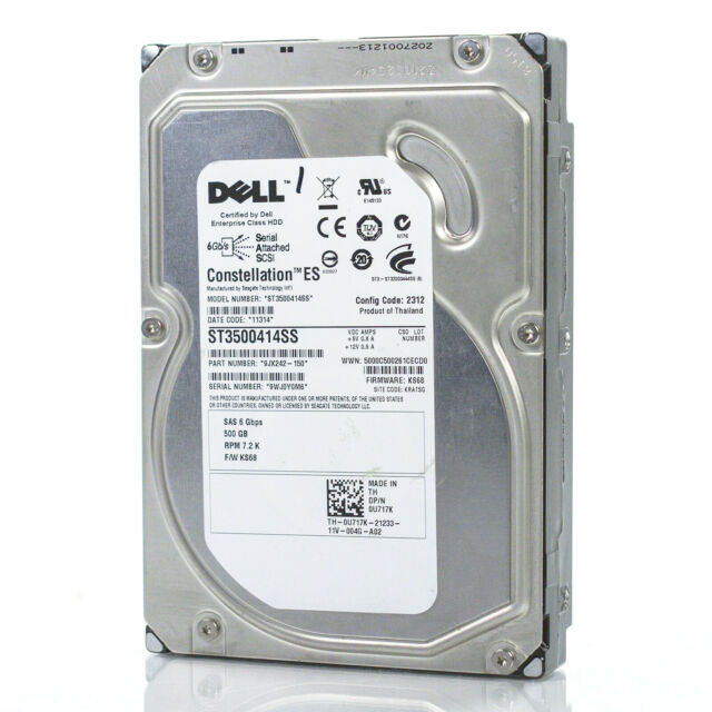 Dell Seagate 3.5/'/' 500GB 7.2K 6GB SAS Hard Drive U717K