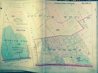 1906 NORTH PITTSBURGH PENNSYLVANIA LEET /& SWEICKLEY HEIGHTS TOWNSHIPS ATLAS MAP