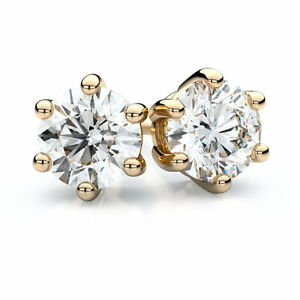 Diamond-Unique-1ct-amp-2ct-Solitaire-Solid-Gold-9ct-Stud-Earrings-6-Claw