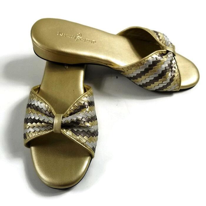 DANIEL GREEN Metallic Gold & Silver Comfy Slip On Wedge Shoe Women's SZ 61/2 M