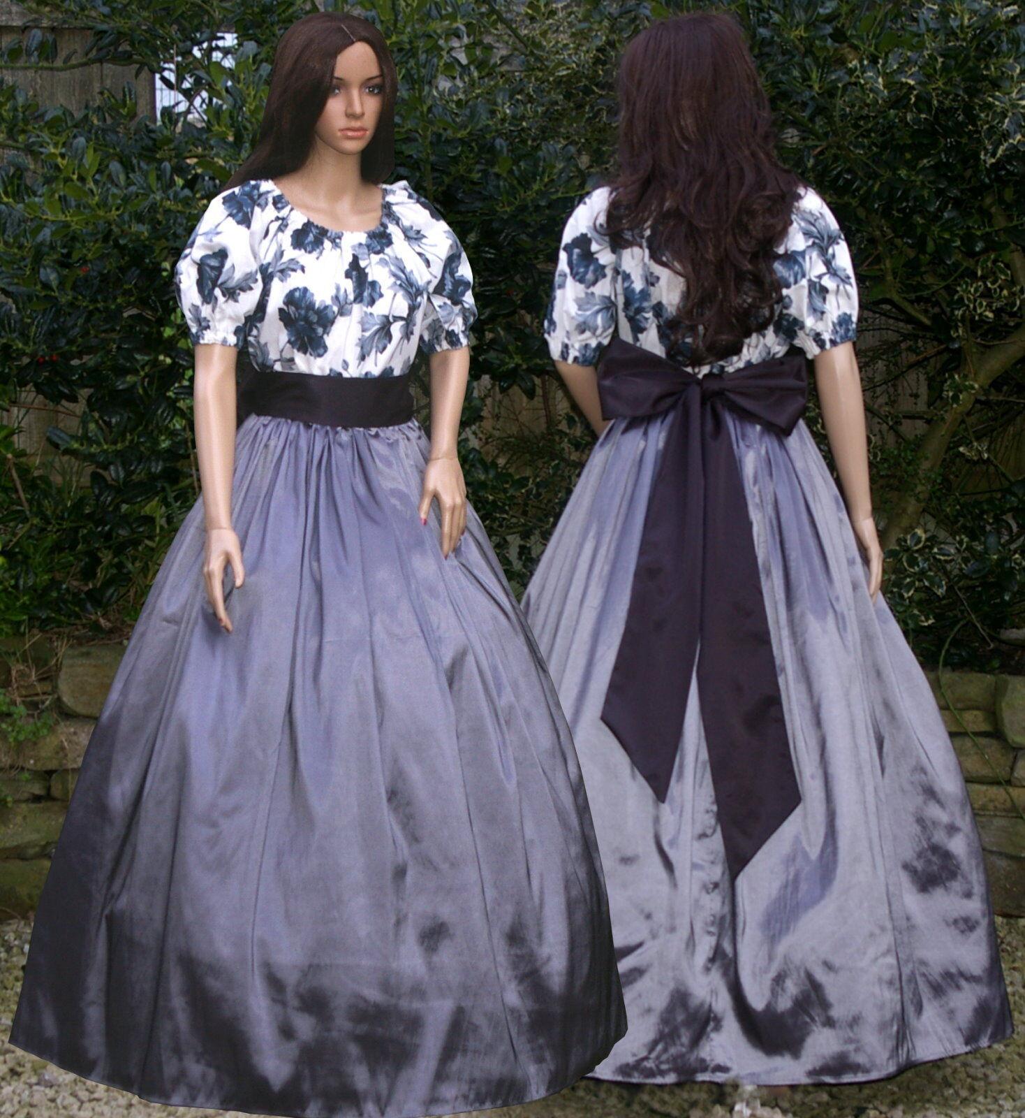 Ladies Victorian American Civil War 3pc costume fancy dress size 12-14 Grey&bl