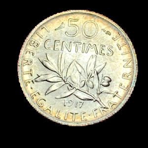 3954-RARE-50-centimes-1917-Semeuse-en-Argent-SPL-FDC-FACTURE
