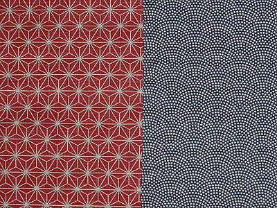 Reversible Furoshiki Japanese Fabric Blue/Red Hemp Leaves & Waves Cotton 50cm