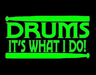 "GROOVE KEEPER DRUMMER VINYL WINDOW DECAL NEON GREEN 9X3.5/"" DRUMS CYMBALS STICKS"