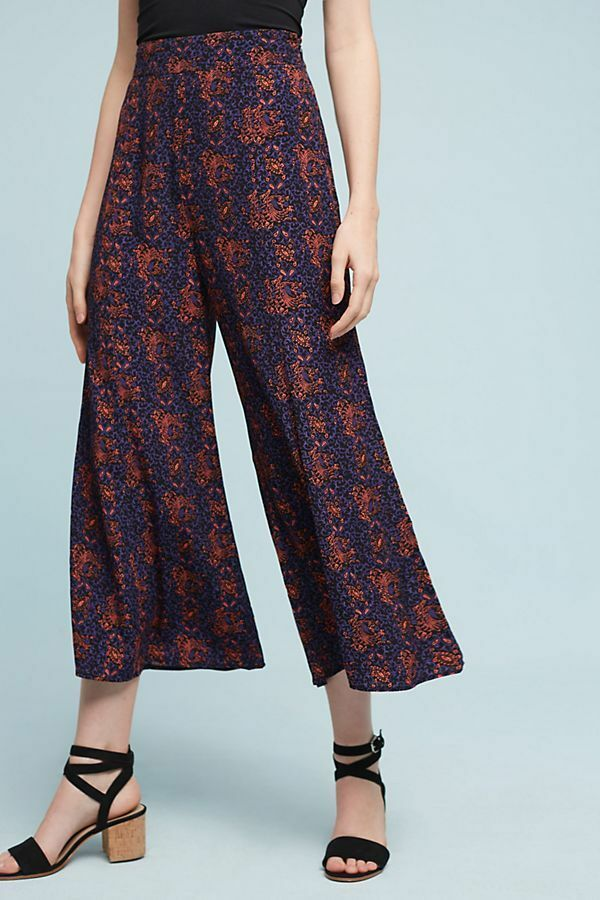 ANTHROPLOGIE  Tessie Wide-Leg Crops by Elevenses 12  NWT