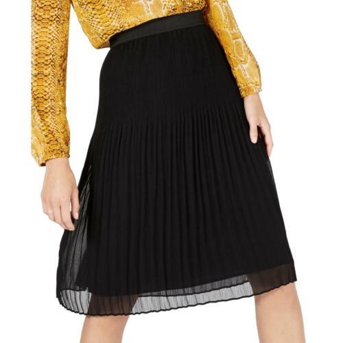 INC Womens Black Pull On Pleated Midi A-Line Skirt L BHFO 4097