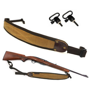 Rifle-Shotgun-Sling-Swivels-Mounted-Set-Canvas-Leather-Gun-Strap-Range-Shooting