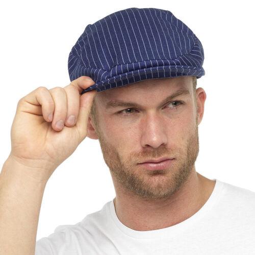 Para Hombre Verano Gorra Plana Niño Panadero el abuelo Sombrero a Rayas Azul Marino Moda