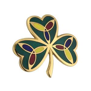 Nuevo-Esmaltado-Irlandes-Celtic-Trebol-y-Triqueta-Broche-Celtic-Joyeria