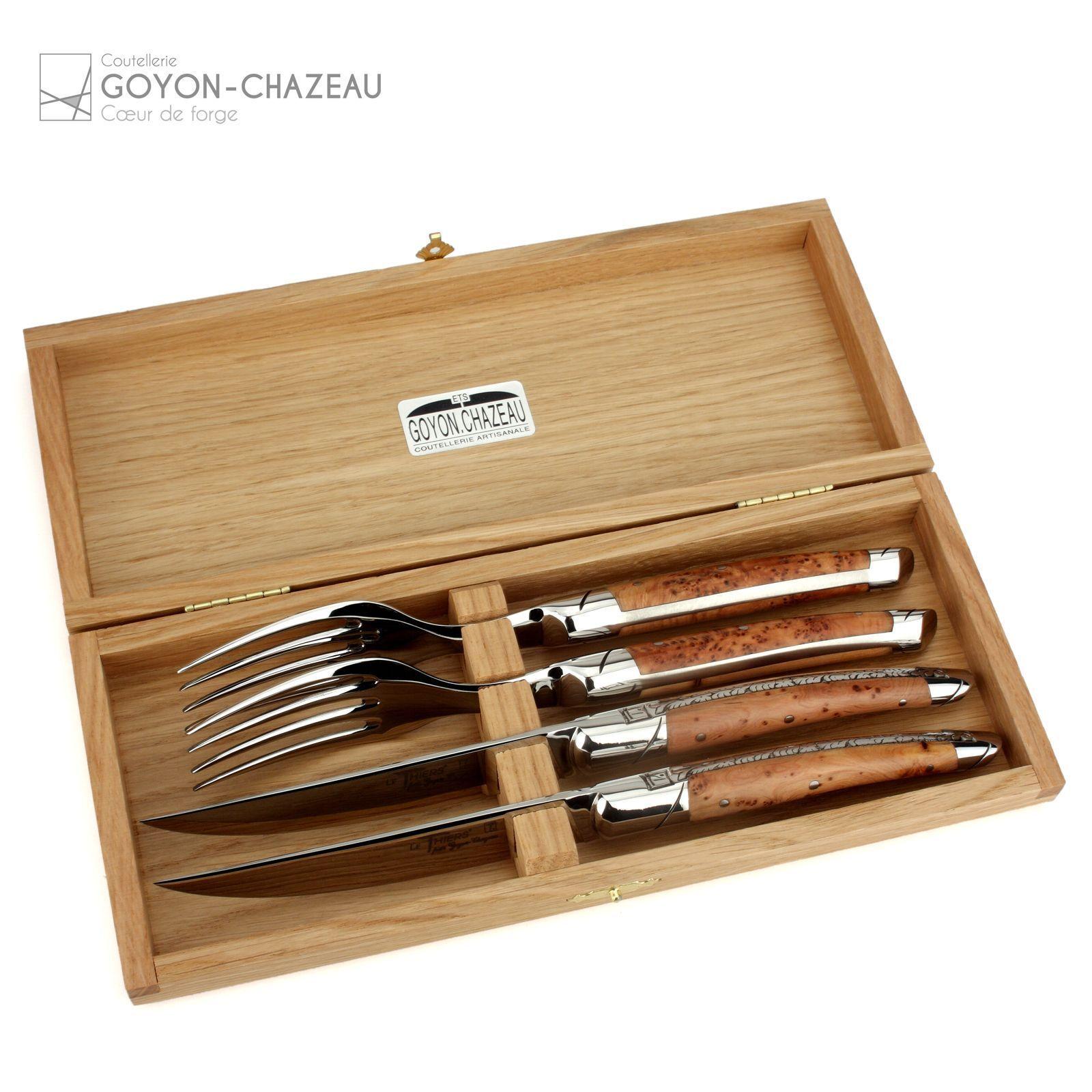 GOYON CHAZEAU Thiers - 2 Couteau à viande + 2 Fourche-Genièvre-Couverts France