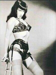 Bettie Page Black Garter Sit on Stool  B//W  18X24 Poster Free Shipping #1011