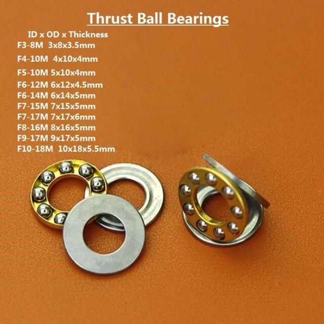10pcs Axial Ball Thrust Bearing F3-8M 3x8x3.5mm 3-Parts Miniature Plane Bearing