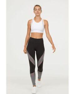 237614cfc6cc4 NWOT H&M Shimmering Black Gray Pink Yoga Leggings Gym Small S NEW   eBay