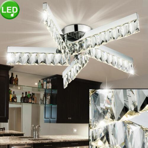 LED Luxus Kristall Decken Lampe Wohn Schalf Zimmer Beleuchtung Chrom Leuchte
