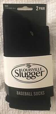 2 Pair Youth Size 10-4 Louisville Slugger Youth Baseball Socks Black