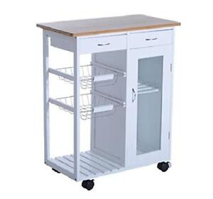 Details about Rolling Kitchen Microwave Cart Wine Rack Baskets Storage  Cabinet Drawer Shelf