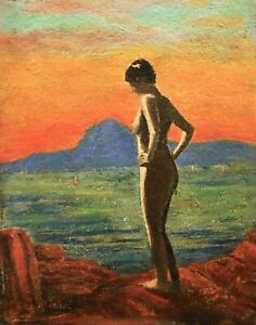 GEO-MICHEL-1883-1985-SIGNED-FRENCH-ART-DECO-OIL-NUDE-ON-ROCKS-SUNSET-1933