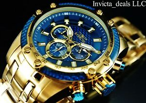 Invicta-Men-039-s-50mm-SPEEDWAY-SCUBA-Chronograph-Sapphire-Blue-Gold-Tone-SS-Watch