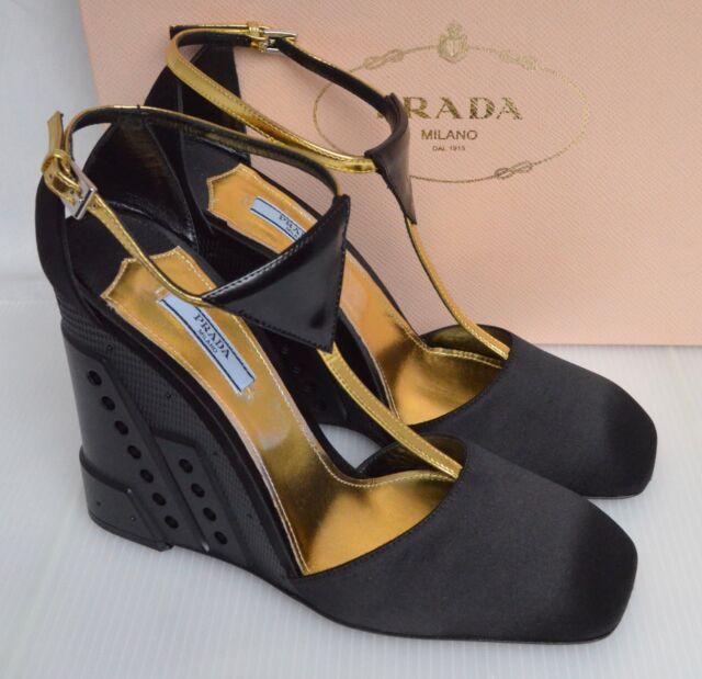 cd192ffb9232c Prada Black & Gold T Bar Wedge Shoes Size UK 6 EU 39 and US 8