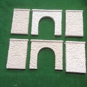 2x Tunnel & 4 Walls -n Scale -pebble Stone Style- Unpainted Set- Single Track