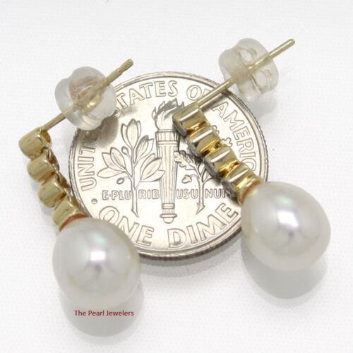 14k Yellow Gold /& Sparkling Diamond Genuine White Pearl Dangle Stud Earrings TPJ