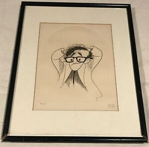 Al-Hirschfeld-Hand-Signed-Limited-Edition-Framed-Woody-Allen-RARE-ETCHING
