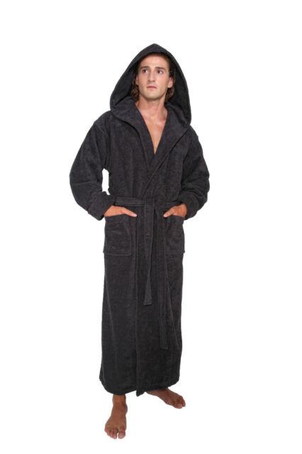 Hooded Bathrobe Mens Turkish Cotton Terry Spa Robe With Hood