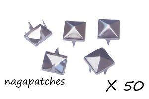 Lot de 50 rivets clous pyramid studs style mode punk gothic en nickel DIY-001