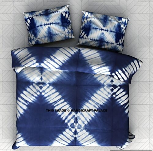 Indian Tie Dye Shibori Bedspread Cotton Indigo Bedding With Two Pillow Covers