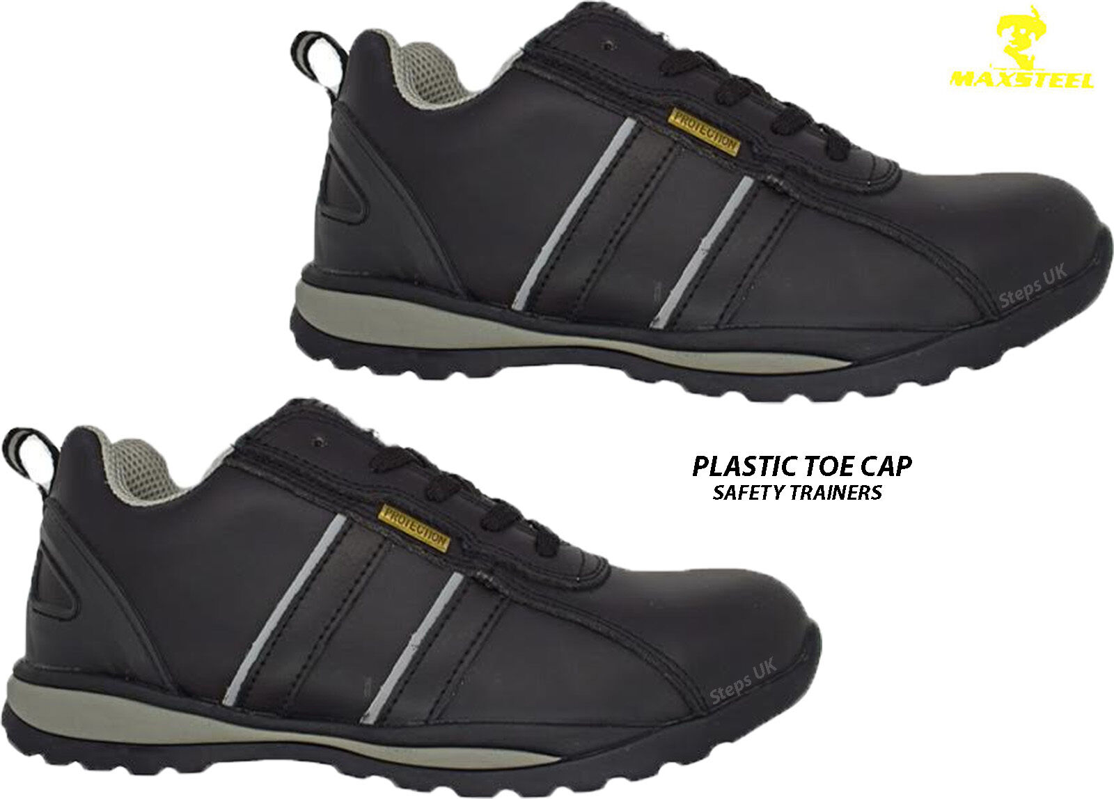 MENS LIGHTWEIGHT LEATHER COMPOSITE PLASTIC TOE CAP SAFTEY TRAINERS WORK BOOTS SZ