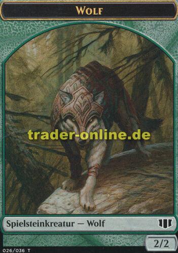 Wolf 2x Spielstein Commander 2014 Magic Token - Wolf