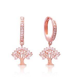 Rose-Gold-Plated-Sterling-Silver-Tree-Drop-Earrings