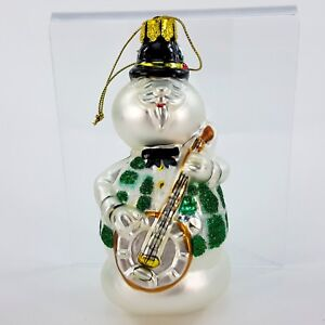 Rudolph-Red-Nosed-Reindeer-Sam-Snowman-w-Banjo-5-034-Glass-Christmas-Ornament