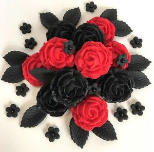 Image Is Loading Red Amp Black Roses Bouquet Edible Cake Decorations