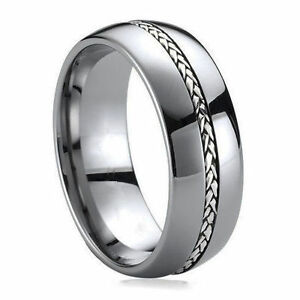 Image Is Loading Tungsten Ring Silver Inlay Men 039 S Wedding