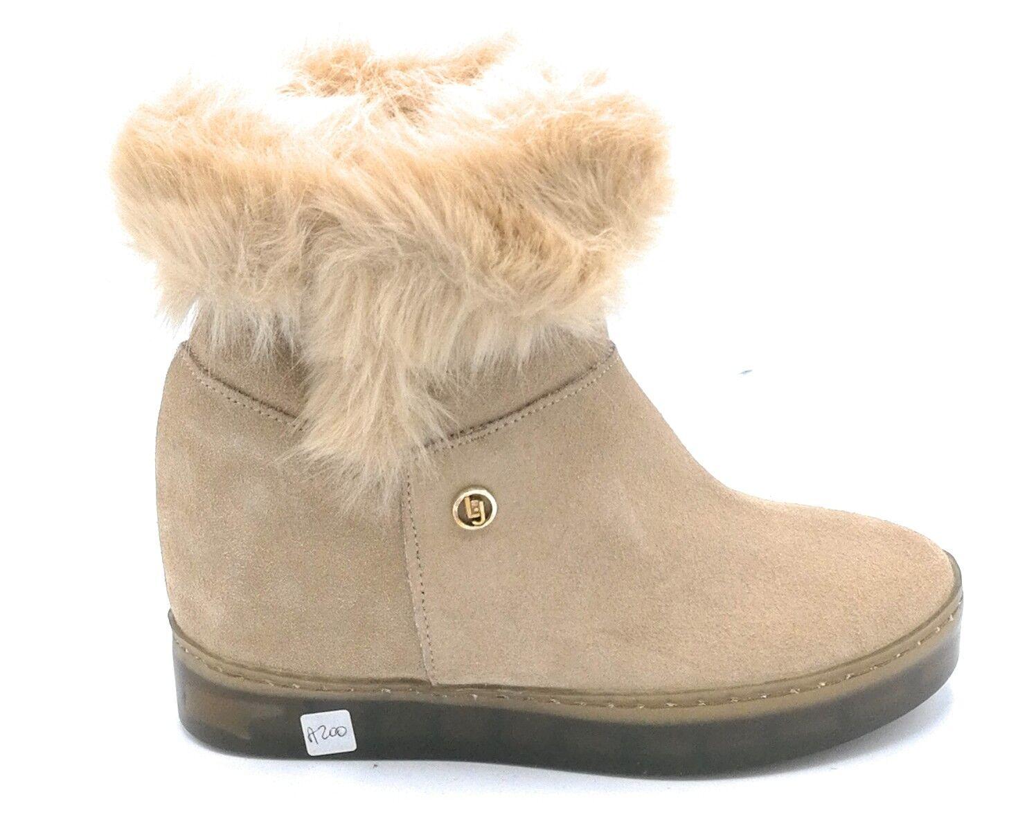 Liu Jo olivia 67231 ankle boot sneakers sneakers sneakers suede camel hem hair wedge a3acd5