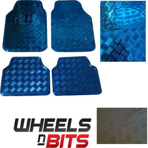 4-PIECE-HEAVY-DUTY-BLUE-LOOK-CHECKER-PLATE-CAR-VAN-MAT-SET-NON-SLIP-FLOOR-MATS
