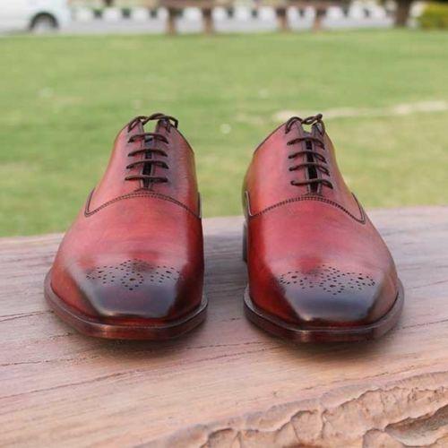 Homme Fait à la main Chaussures en Cuir Rouge Richelieu à conception formelle   Décontracté Wear Bottes NOUVEAU