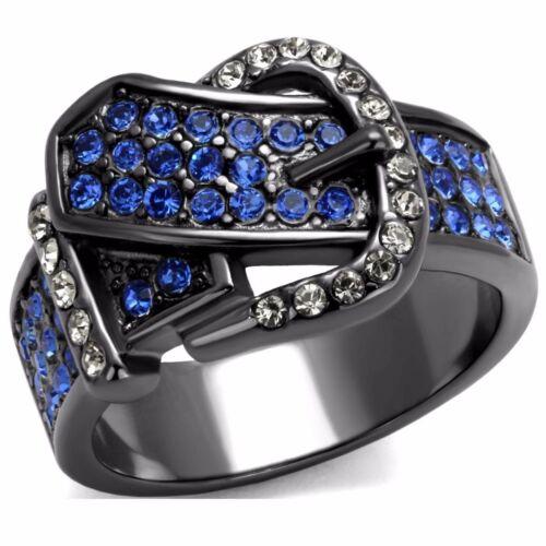 Deep Blue Multi Color CZ Light Black Stainless Steel Belt Buckle Eternity Ring