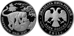 25-Rubles-Russia-5-oz-Silver-2011-Southwest-Asian-Leopard-Cat-Animal-Proof