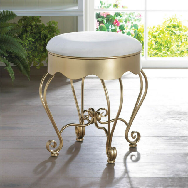 Sensational White Gold Iron Scroll Padded Cushion Sturdy Bench Vanity Seat Stool Chair Inzonedesignstudio Interior Chair Design Inzonedesignstudiocom