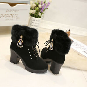 Women-Block-High-Heel-Ankle-Boots-Faux-Fur-Side-Zip-Warm-Winter-Booties-Black