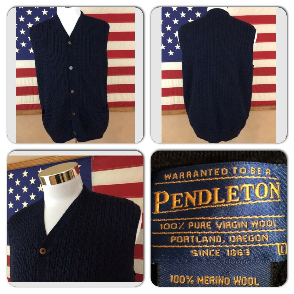 EXC COND PENDLETON MENS L CABLE KNIT 100% MERINO WOOL NAVY CARDIGAN SWEATER VEST
