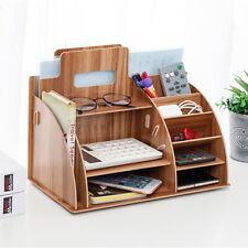 Office Wooden Desk Organizer Sorter Tabletop Shelf Rack Shelf Pen Holder Storag
