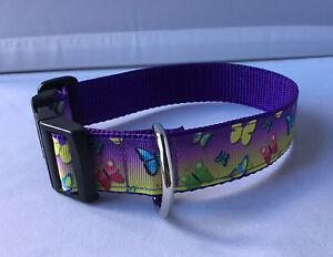 Dog-Collar-Colour-Butterflies-Design-Unique-Funky-Pet-Supply-Gift-Handmade-Xmas